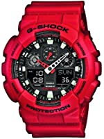 Casio - G-Shock - GA-100B-4AER - Montre Homme - Quartz Analogique - Digital - Alarme/Compte à rebours/Chronomètre/Temps universel - Bracelet Résine Rouge