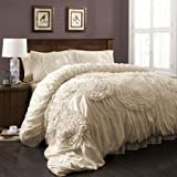 Special Edition by Lush Decor Serena 3 Piece Comforter Set (Queen, Ivory)