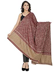 Indo Essence ( Women's_ Designer Striped Maroon Shawl)