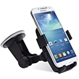 GreatShield Quick Grip (ONE TOUCH TRIGGER) Windshield Dashboard Universal Car Mount for Phones and GPS Devices - Works with Samsung Galaxy S4/S4 Mini/S4 Active, S3/S3 Mini, S2 II, Galaxy Ace Plus, LG Nexus 4, Apple iPhone 5S/5C/5/4, Blackberry Z10/Q10, HTC One M7/S/V/X/X+, HTC First, Desire C/X, HTC 8S/8X Window Phone, Sony Xperia Z/T/U/E, Nokia Lumia 520/620/720/820/920/928/1020, Motorola Moto X