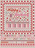 HAPPY BIRTHDAY CARD Pink Cross Stitch Sampler Style