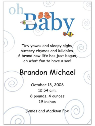 Oh Baby Boy Birth Announcements - Set of 20