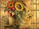 Country Sunflowers II by Elaine Vollherbst-Lane Tile Mural for Kitchen Backsplash Bathroom Wall Tile Mural