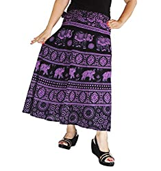 Aura Life Style Women Printed Cotton Long Wrap Around Skirt (ALSK5041W, Blue, Free Size)