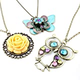 Vintage, Retro Colorful Crystal Owl Pendant and Long Chain Necklace with Antiqued Bronze/Brass Finish (3 Pcs: Owl + Butterfly + Flower)