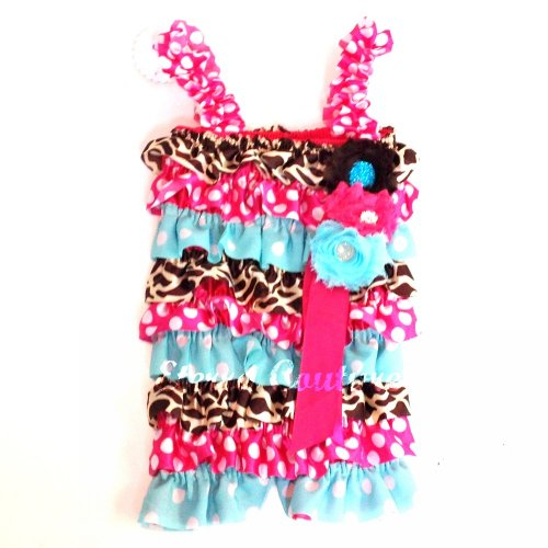 Lace Petti Romper Baby Jumper Giraffe Ruffle Outfit - Turq / Hot Pink 6-18 Months front-28405