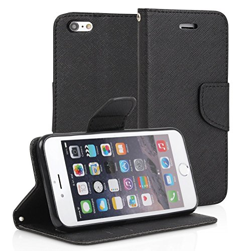iPhone6S iPhone6 ケース 手帳型 カバー カード収納 ストラップホール付き (iPhone6S/6 4.7 inch, BLACK)