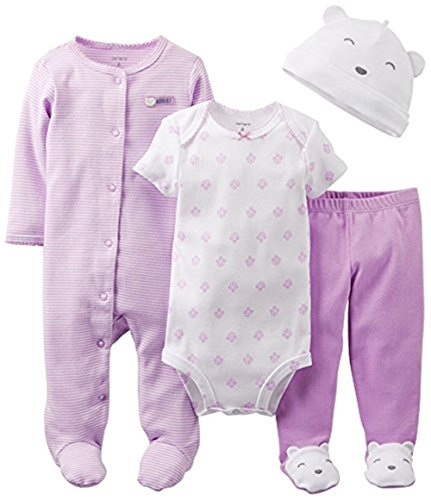 Carter's Baby Girls' 4 Piece Layette Set (6 months, adorable)