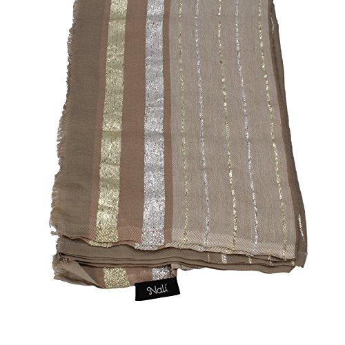 NALì sciarpa pashmina donna beige avorio fucsia cotone (Beige)