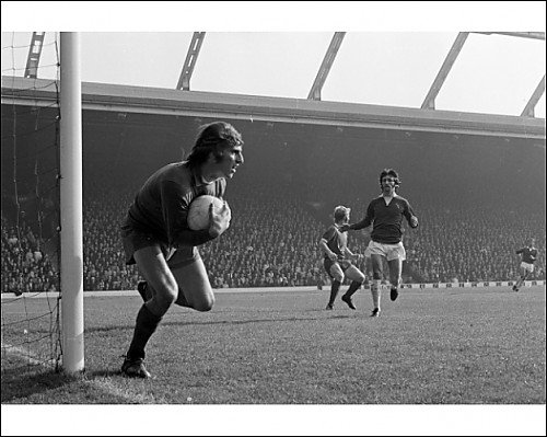 Photographic Print of Ray Clemence makes a save from Liverpool FC Pictures