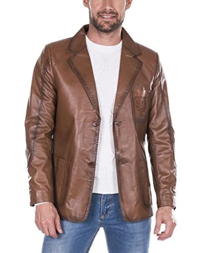 GIORGIO DI MARE Cazadora Piel Leather Jacket Marrón