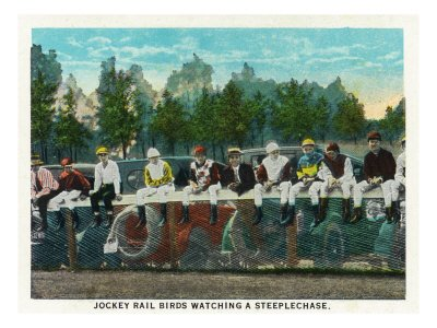 Saratoga Springs, Ny - View of Jockey Rail Birds Watching a Steeplechase at Horse Track, c.1914