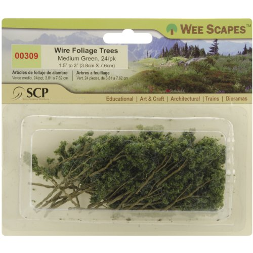 Wee Scapes Architectural Model Trees Wire Foliage Trees (medium green) 1 1/2 in. - 3 in. pack of 24 - 1