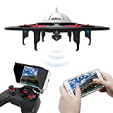 UDI-U845-WiFi-FPV-Drone-with-HD-Camera-Includes-BONUS-BATTERY-24GHz-4CH-6-Axis-Gyro-RTF-UFO-RC-Quadcopter-with-Headless-Mode-Gravity-Induction-and-Low-Voltage-Alarm