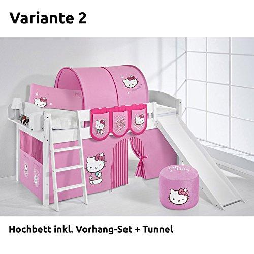Hochbett Spielbett IDA Hello Kitty Rosa, mit Rutsche und Vorhang, weiß, Variante 2 online bestellen