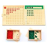 Yoovi Montessori Arithmatics Teaching Aids Bead Abacus Maths Learning Multiplication Board and Division Board w/ Wooden Box for Kids Educational Counting Toys for Preschool Kindergarten (Color: Multicolored)