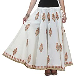 NIKA Chanderi Art Silk Hand Block Printed Long Skirt