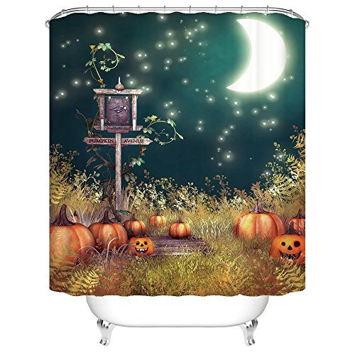 [Gwein Halloween Night Theme Happy Halloween Pumpkins Decorative Bathroom Mildew Resistant Fabric Shower Curtain Waterproof/Water-Repellent & Antibacterial Shower Room Decor Shower Curtains 60