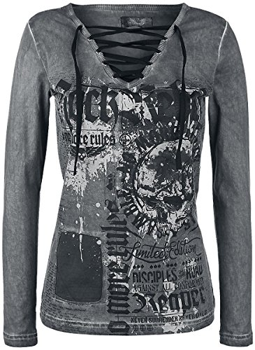 Rock Rebel by EMP No More Rules Longsleeve Maglia lunga donna grigio S