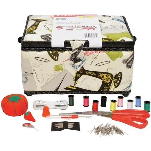 Lowest Prices! Singer Vintage Sewing Basket with Sewing Kit Accessories