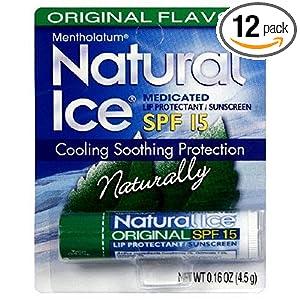 Mentholatum Natural Ice Medicated Lip Protectant SPF 15, Mentholatum 0.16-Ounce Tubes (Pack of 12)