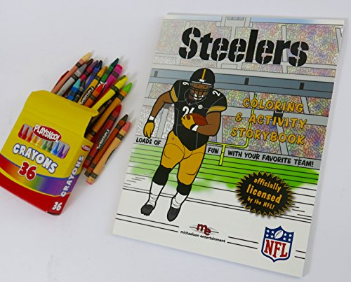 Pittsburgh Steelers, Coloring & Activity Storybook with a large box of 36 Playschool Btand crayons.