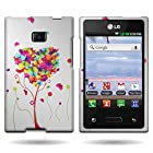 Coveron White Hard Snap-On Cover Case With Orange Purple Butterfly Heart Design For LG Optimus Logis L35G / Optimus Zone / Optimus Dynamic L38c With Pry- Triangle Case Removal Tool [Wcp689]