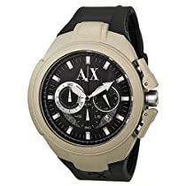 Armani Exchange Chronograph Black and Grey Dial Black Rubber Mens Watch AX1197