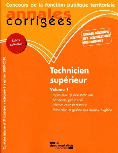 Technicien supérieur 2009-2010 annales corrigées