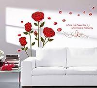 StickersKart Wall Stickers Bedroom Romantic Rose Flowers (Multi-Colour, 120cm...-6005