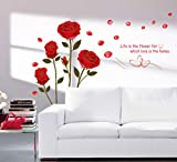 StickersKart Wall Stickers Bedroom Romantic Rose Flowers (Multi-Colour, 120cm...-6005