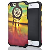 Iphone 6 Case, Meaci® Cell Phone Case for Iphone 6 (4.7 Inch) Case 2 in 1 Combo Hybrid Hard Pc & Rubber Case Dual Layer Bumper with Smooth Exquisite Dream Catcher Pattern Protective Case - Black Rubber