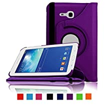 Infiland 360 Degree Rotating PU Leather Case Cover for Samsung Galaxy Tab 3 Lite 7.0 SMT110 (Samsung Galaxy Tab 3 Lite 7.0 SMT110 Purple)