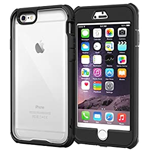 iPhone 6s Plus Case, roocase [Glacier TOUGH] iPhone 6 Plus (5.5-inch) Hybrid Scratch Resistant Clear PC / TPU Armor Full Body Protection Case Cover with Built-in Screen Protector for Apple iPhone 6 Plus, Granite Black