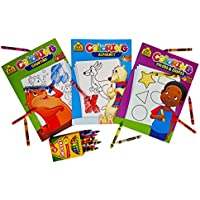 Coloring Books Set Of 3. Colors & Shapes, Counting And Alphabet. Plus A Free Box Of Crayons.