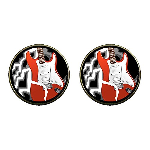 Giftjewelryshop Bronze Retro Style Music Theme Powerful Electric Guitar Photo Clip On Earrings #14