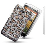 HTC ONE X LEOPARD SPOTTED DIAMANTE DISCO BLING BACK COVER WITH 2 SCREEN PROTECTORS BY CELLAPOD CASESby CELLAPOD