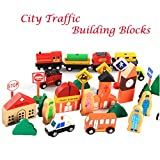 iPuzzle Magnetic Wooden City Traffic Building Blocks Set Toys For Kids
