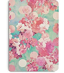 DailyObjects Romantic Pink Retro Floral Pattern Teal Polka Dots A5 Notebook Plain