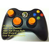 10 Modes! Orange D-pad, Thumb Sticks, Led! Black Xbox 360 Modded Rapid Fire Wireless Controller.