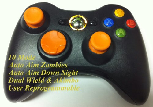 10 Modes! Orange D-Pad, Thumb Sticks, Led! Black Xbox 360 Modded Rapid Fire Wireless Controller.