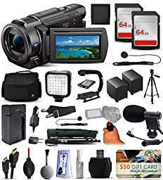 Sony FDR-AX33 4K Ultra HD Handycam Camcorder Video Camera + 128GB Boardcasting Filmmaker\'s Package with LED Night Light + Tripod + Monopod + Action Stabilizer + Handgrip + Microphone + More
