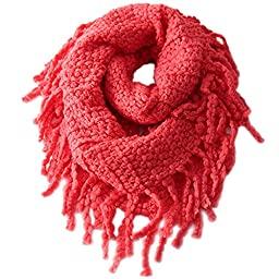 EUBUY Fashionable Autumn Winter Kids Toddler Knit Warmer Tassels Neck Scarf Circle Loop Round Scarves Shawl(Watermelon Red)