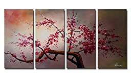 Ode-Rin Hand Painted Abstract Oil Paintings Beautiful Pink Plum Blossoms 4 Panels Wood Framed Inside For Living Room Art Work Home Decoration