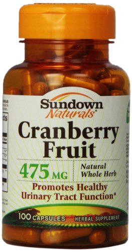 Sundown Naturals Cranberry Fruit Capsules, 475mg, 100-Count Bottle
