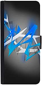Snoogg Blue Spiky Abstract Background Graphic Snap On Hard Back Leather + Pc ...