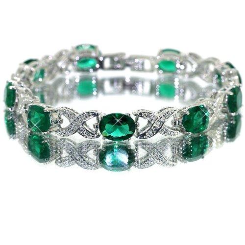 myCullinan Ravishing Oval Cut White Gold Plated Silver Simulated Emerald Bracelet BC367