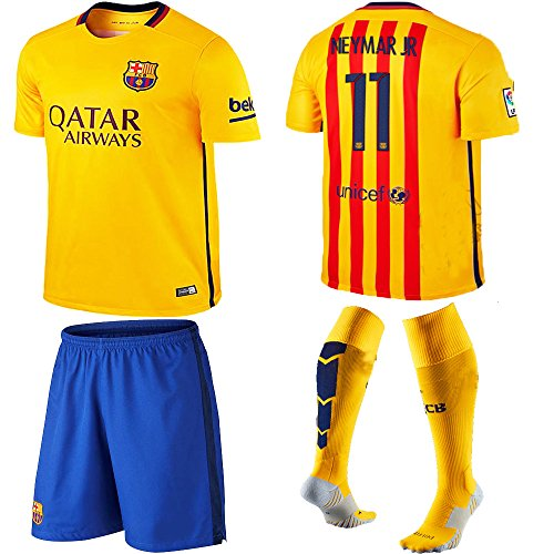 9f3bccfcd Barcelona Kids Jersey 2015 2016 Neymar Jr  11 Away Football Soccer Jersey    Shorts with Socks and Free Key Chain for Kids 3-14 Years (11-12years) - Buy  ...