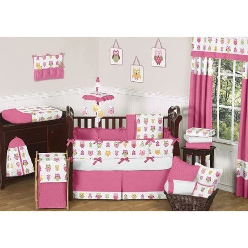 Pink Happy Owl Forest Nature Baby Girl Bedding 9pc Crib Set