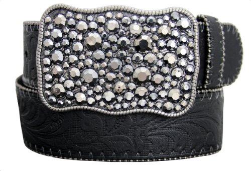 """Selena Western Women Rhinestone Buckle and Embossed Genuine Leather Belt 38mm or 1-1/2"""" Wide (M(33~35), Black)"""